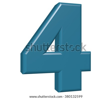 Number 4 on white background