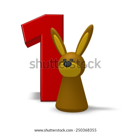 number one and rabbit - 3d illustration - stock photo