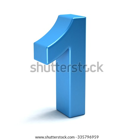 Number one color blue icon - stock photo