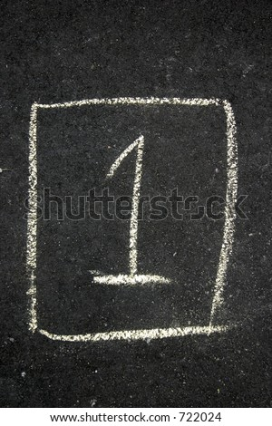 Number 1 one drawn in chalk on a driveway for hopscotch - stock photo