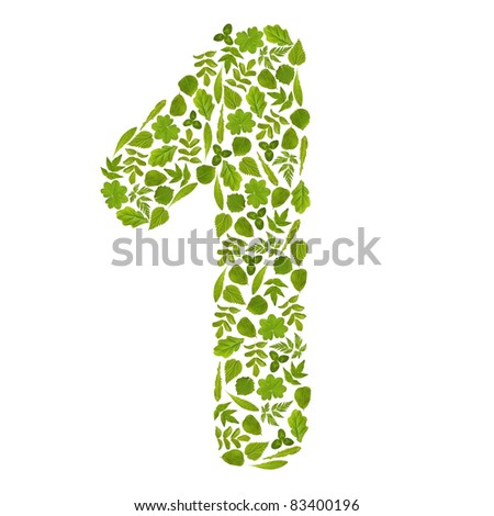 Number ONE from green leafs - stock photo