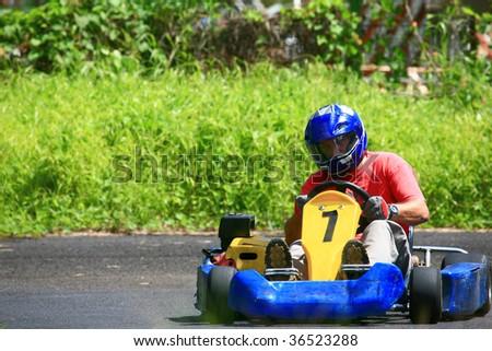 number one go kart pilot - stock photo