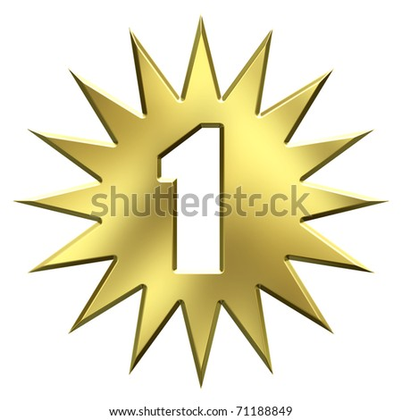 Number one gold star - stock photo