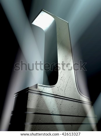 Number one in a silver letter on a silver pedestal - stock photo