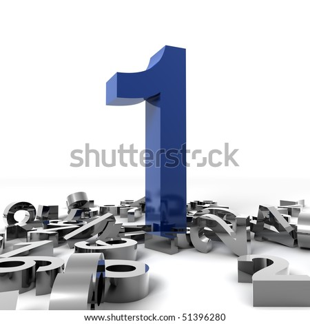 Number one isolated over white background - stock photo