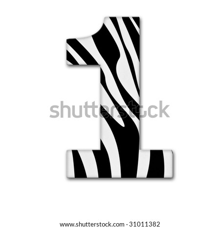 Number one. Made of animal print. It has a clipping path - stock photo