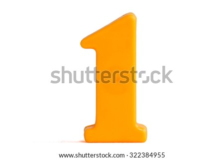Number one made of plastic, isolated over the white background - stock photo
