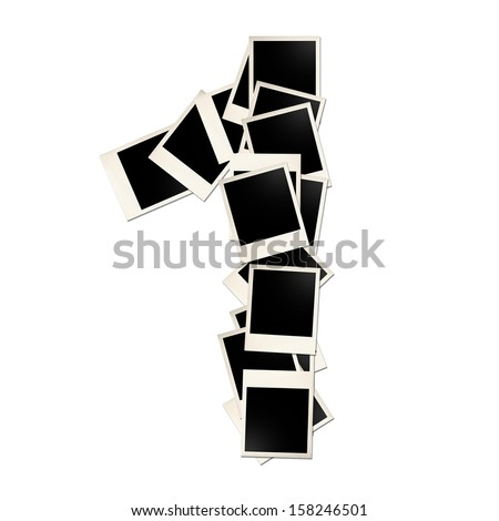 Number one made up of pictures on a white background - stock photo