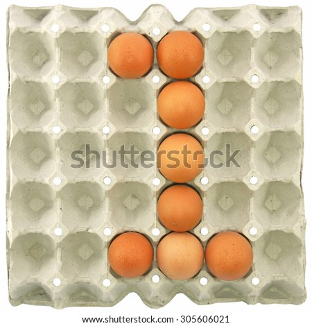 Number one of eggs in the paper package tray - stock photo