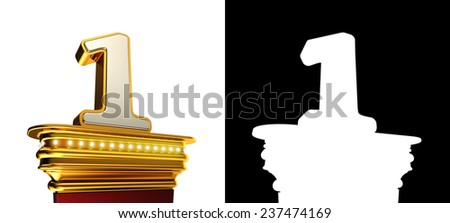 Number One on a golden platform with brilliant lights over white background with alpha map - stock photo