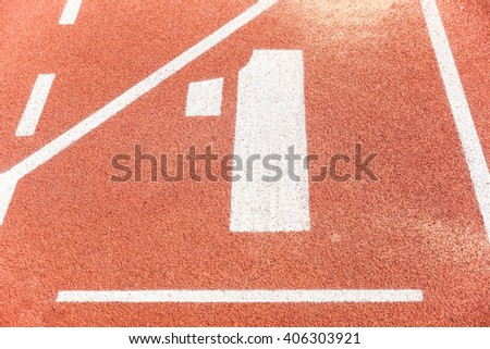 Number one on running race lane