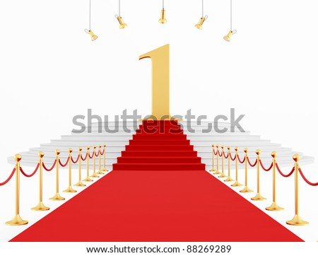 Number One on the red carpet isolated on white - rendering
