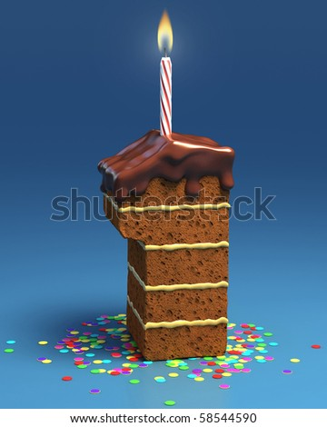number one shaped birthday cake with candle - stock photo