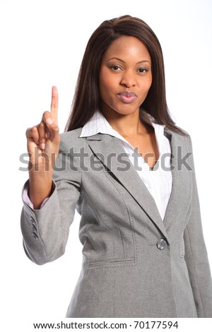 Number one sign from beautiful black woman - stock photo