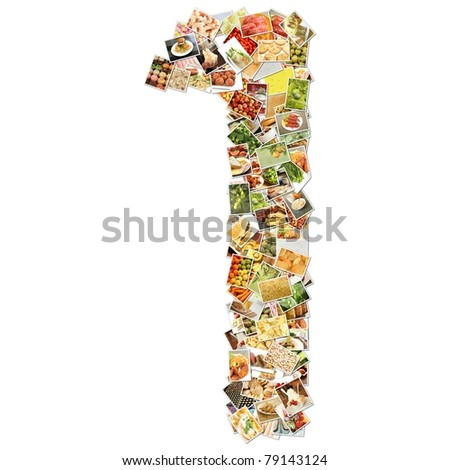 Number 1 One with Food Collage Concept Art - stock photo