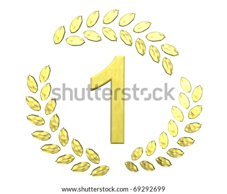 number one with laurel wreath - stock photo