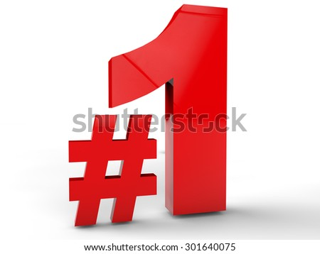 Number 1 over white Background - stock photo
