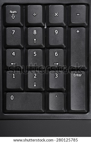 number pad or numeric keypad  on a black computer keyboard - stock photo