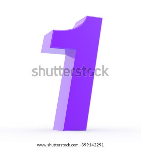 Number 1 purple collection on white background illustration 3D rendering