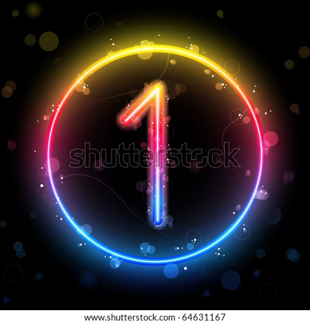 Number Rainbow Lights  Glitter with Sparkles - stock photo