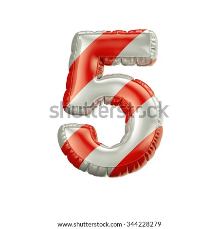 Number 5. Red and white Balloon font isolated on White Background.Birthday alphabet. - stock photo