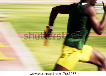 Number 4 runner in the 4x100 relay race.