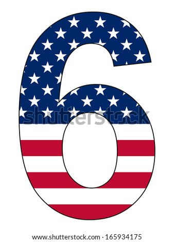 Number series with flag inside - United States