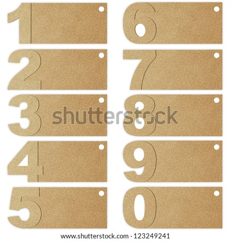 number set from recycle paper - stock photo