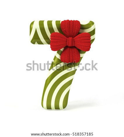Number 7, Seven, decorated as Gift Box with Red Ribbon isolated on White Background. Font Concept with Xmas Color Scheme. 3d rendering illustration