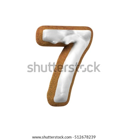 Number 7, Seven. Gingerbread font. Christmas cookie alphabet concept. 3d rendering isolated on White Background