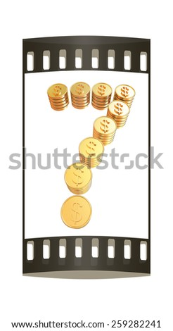 """Number """"seven"""" of gold coins with dollar sign isolated on white background. The film strip - stock photo"""