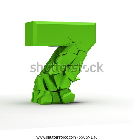 Number seven on a white background. - stock photo