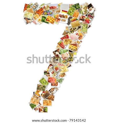 Number 7 Seven with Food Collage Concept Art - stock photo