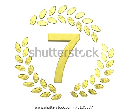 number seven with laurel wreath - stock photo