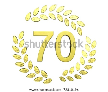 number seventy with laurel wreath - stock photo