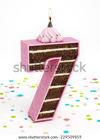Number 7 shaped chocolate birthday cake with lit candle. - stock photo