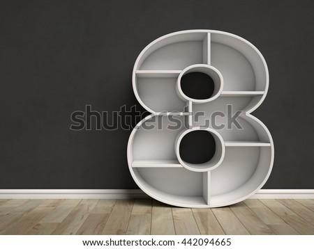 Number 8 shaped shelves 3d rendering - stock photo