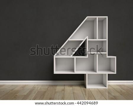 Number 4 shaped shelves 3d rendering - stock photo