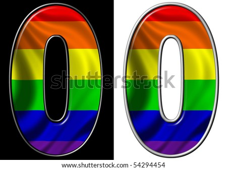 number 0 showing rainbow flag - stock photo