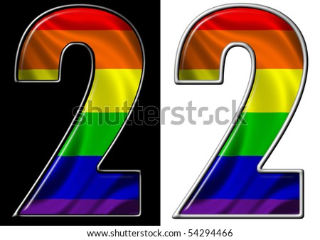 number 2 showing rainbow flag - stock photo