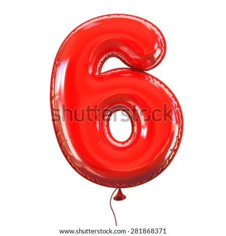 number six - 6 balloon font - stock photo