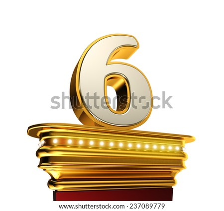 Number Six on a golden platform with brilliant lights over white background - stock photo