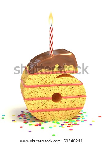 number six shaped chocolate birthday cake with lit candle and confetti - stock photo