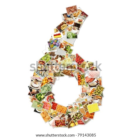 Number 6 Six with Food Collage Concept Art - stock photo