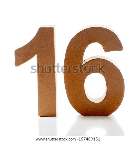 Number Sixteen on a white background