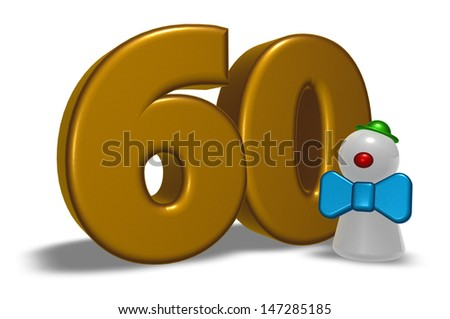 number sixty and clown - 3d illustration