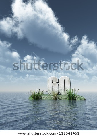 number sixty monument at the ocean - 3d illustration