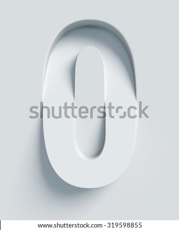 Number 0 slanted 3d font engraved and extruded from the surface - stock photo
