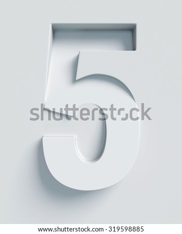 Number 5 slanted 3d font engraved and extruded from the surface - stock photo