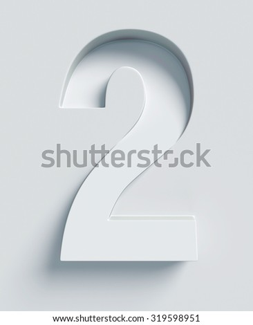 Number 2 slanted 3d font engraved and extruded from the surface - stock photo
